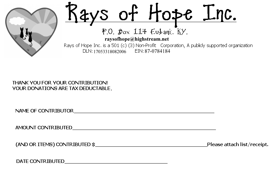 Rays of Hope Inc. Donations